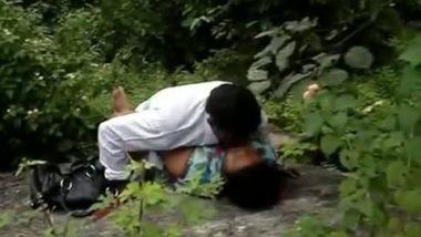 Peeping into couple's outdoor sex