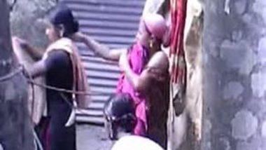 Desi village girls outdoor bath scene leaked by voyeur