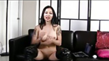 Small Oriental Penis Humiliation with Big Western Cock Dildo