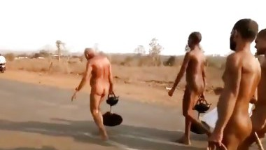 Beautiful holy Indian men marching