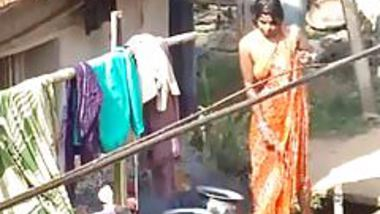 village bhabhi bathing outdoor