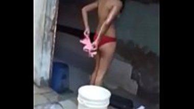 Sexy Gujarati girl having an open bath