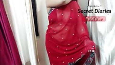 Red Bikini And Red Saree Desi Mom Milf Big boobs