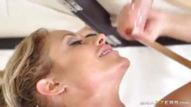 Curvy blonde appreciates stroking and