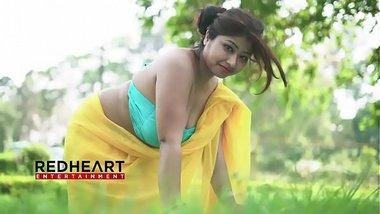 Busty Indian bra saree woman