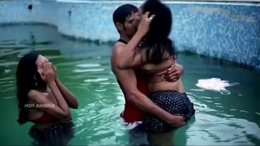 Husband Fucks his Wife and Friend in Pool in Threesome
