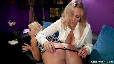 Huge tits lesbian anal fucks hypnotherapist