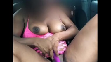 Hot MILF plays with her dildo in the car in her sons school parking lot