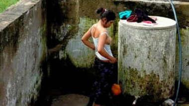 Cute Desi Girl Out Door bathing part 1