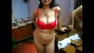 Bengali busty girl stripping and fingering her pussy