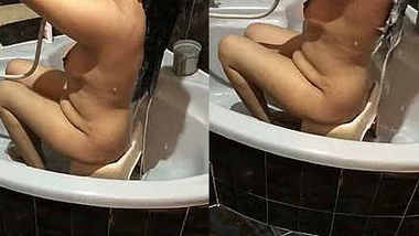 Desi wife taking bath recorded by husband with audio