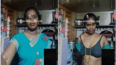 Aunty is so sexy in green sari that online friend pays her for talking