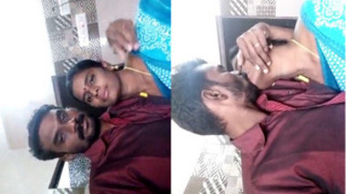 Appealing Indian woman finds the courage to kiss husband on camera