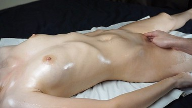 Sensual oiled tits massage with double squirting orgasm