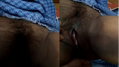 Indian chick bares her XXX body focusing on hairy pink sex hole